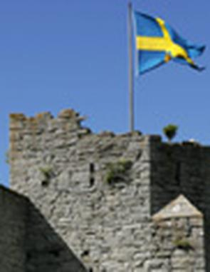 Ringmuren runt Visby med en svensk flagga vajande i vinden.