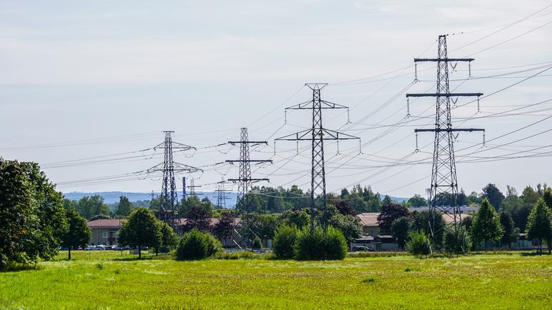 Kraftledningar i sommarlandskap
