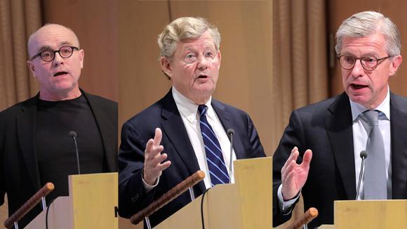 John Hassler, professor I nationalekonomi på Stockholms universitet, Jacob Wallenberg, vd för Investor och Hans Stråberg, ordförande för Atlas Copco och SKF