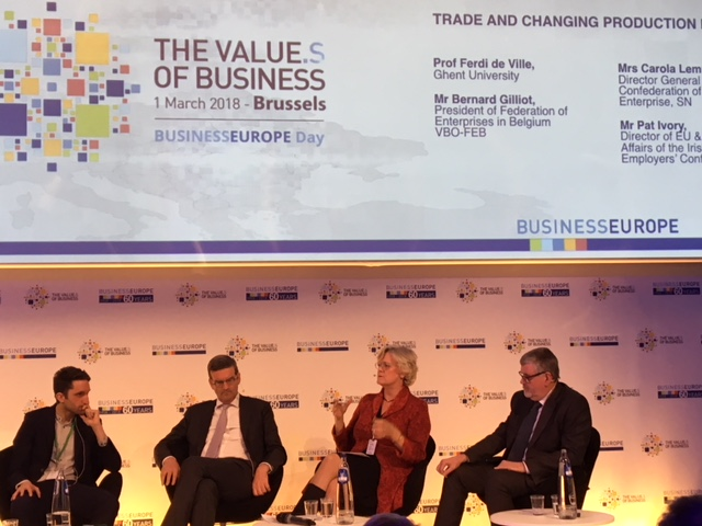 Director General of The Confederation of Swedish Enterprise, Carola Lemne, speaking about why globalisation matters at BusinessEurope Day