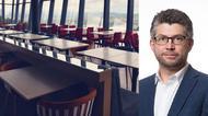 Johan Dalén i kollage med en tom restaurang