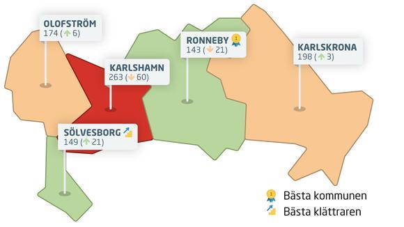 Karta över Blekinges kommuner med rankingplaceringar