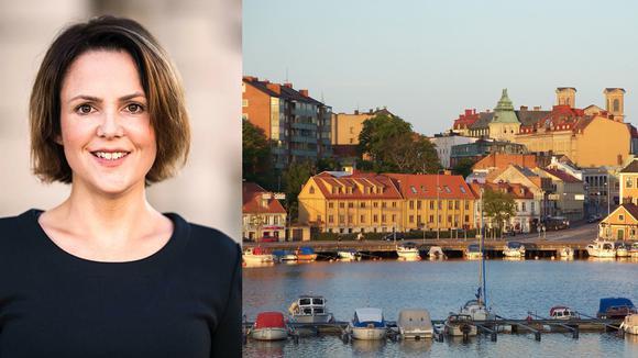Sandra Bizzozero i kollage med vy från Karlskrona