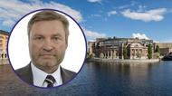Collage: Peter Helander med riksdagshuset i bakgrunden