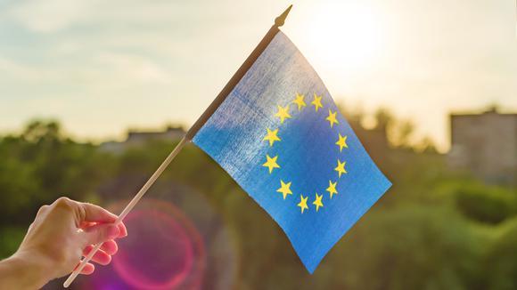 Hand som håller i en liten EU-flagga