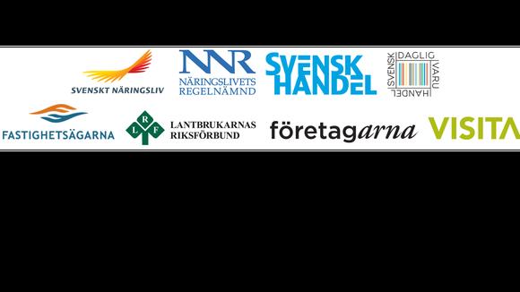 Logos: Svenskt Näringsliv, NNR Svensk Handel, Visita, Företagarna, LRF, Fastighetsägarna, Svensk Daglivaruhandel