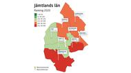 Karta över kommunerna i Jämtlands län och deras plats på rankingen.