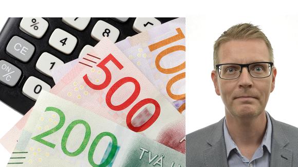 Collage pengar på en miniräknare och ett foto på Mattias Karlsson