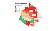 Karta över kommunerna i Norrbottens län och deras plats på rankingen.