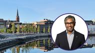 Collage men foto på Thomas Söderström och i bakgrunden en bild på Luleå
