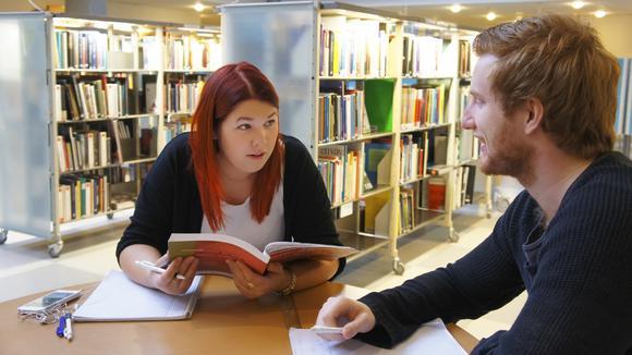 Elever som studerar i bibliotek