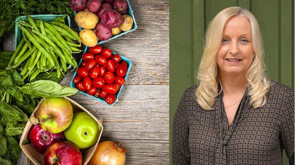 Lena Hedvall i kollage med grönsaker