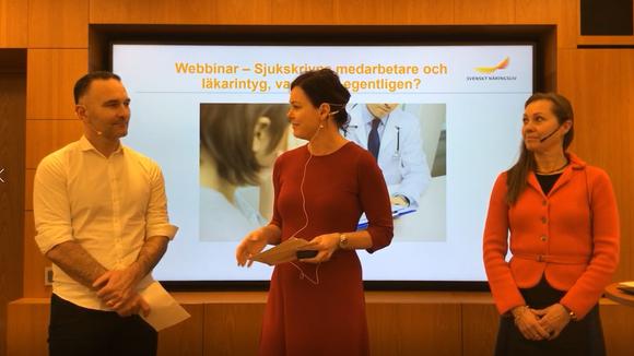 Alija Dizdarevic, Anna-Lena Holmström och Catharina Bäck håller ett webbinar om sjukintyg.