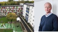 Bild på ett av M3 Byggs bostadsprojekt samt ett porträtt på vd, Johan Lindberg