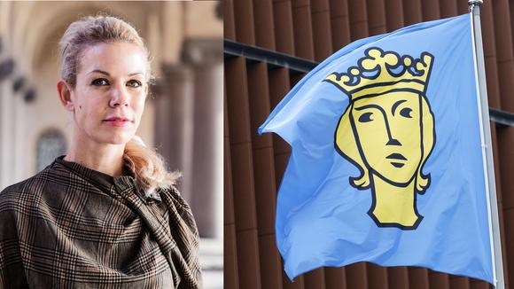 Porträtt på Anna König Jerlmyr samt en bild på Stockholms stad flagga