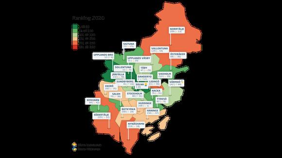 Karta över samtliga kommuners rankingplaceringar i Stockholms län