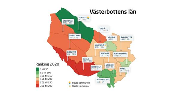 Karta över kommunerna i Västerbottens län och deras plats på rankingen.