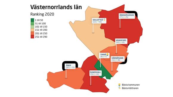 Karta över Västernorrlands kommun och deras placering i årets ranking.