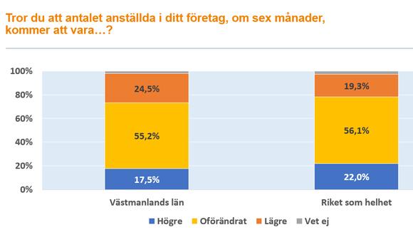 Graf över antalet anställda företagen i Västmanland förväntas ha om sex månader.