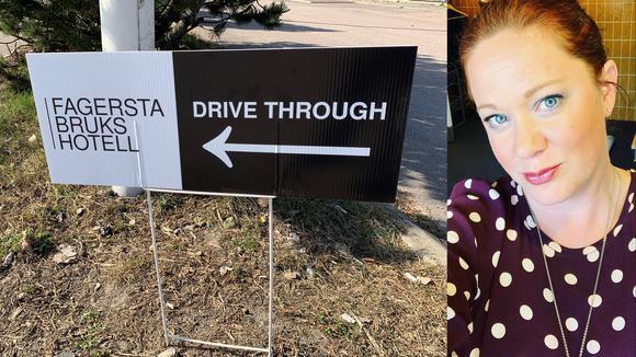 Jennifer Troëng Johansson och bild på Drive-through skylt
