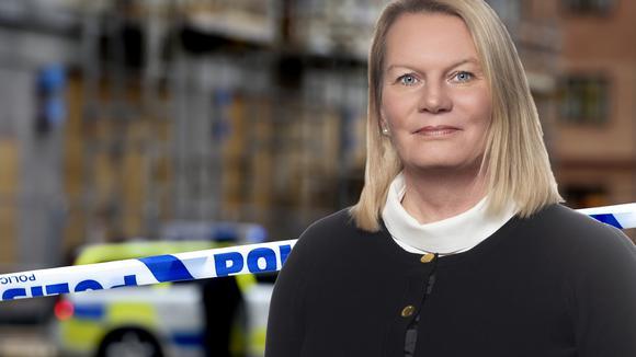 Bildmontage med Kristin Lahed och en bild med polisavspärrning